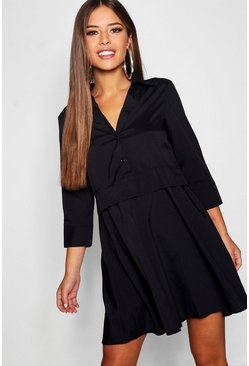 Womens Black Petite Half Button Shirt Dress