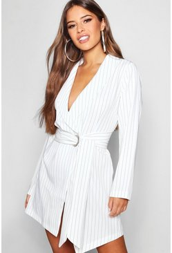 Dam White Petite Pinstripe Tie Side Blazer Dress
