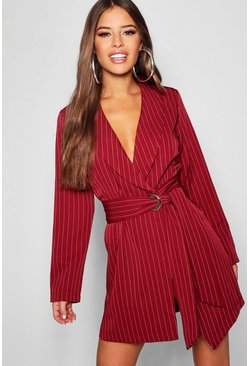 Dam Wine Petite Pinstripe Tie Side Blazer Dress