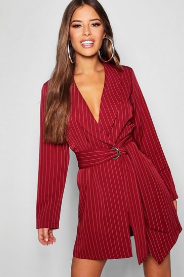 Womens Wine Petite Pinstripe Tie Side Blazer Dress