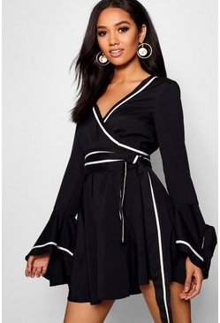 Womens Black Petite Contrast Detail Wrap Skater Dress
