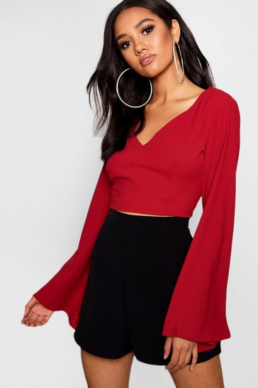 Womens Berry Petite V Neck Woven Flare Sleeve Crop