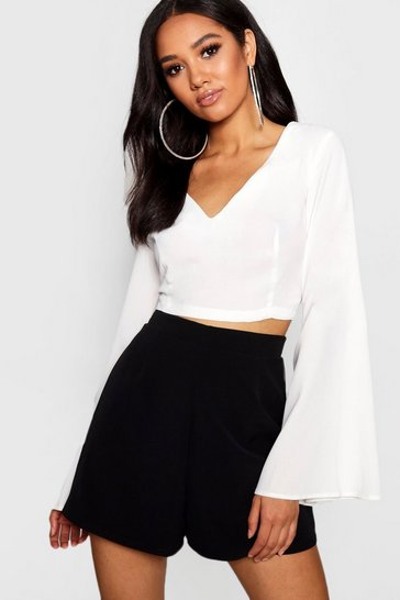 Womens White Petite V Neck Woven Flare Sleeve Crop