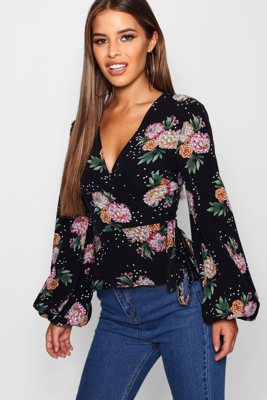Blusa negro flores de cruzada y estrellas con estampado rxwArqnSR