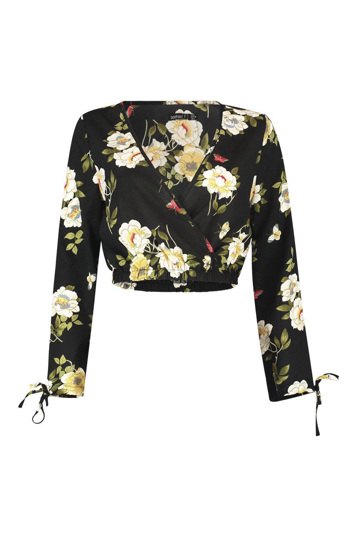 Blusa escote negro floral y estampado corta con pronunciado cruzada TFwqTn1paC