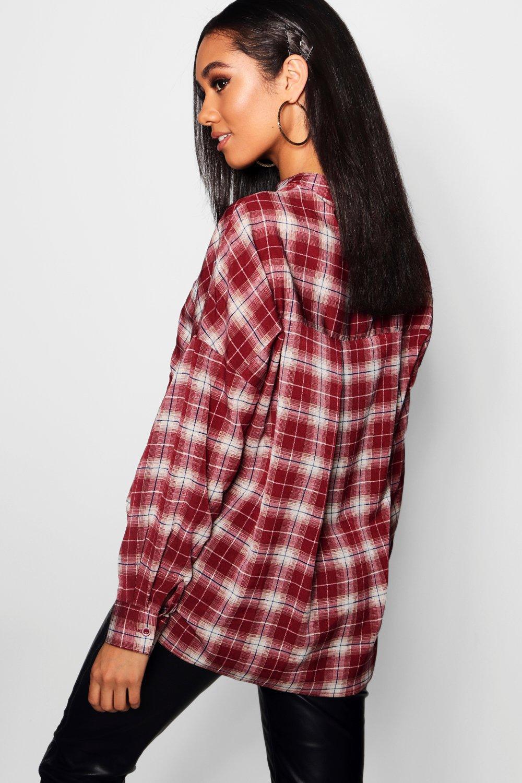 ancha cuadros cuello henley Camisa con de mostaza 61qB4wEx