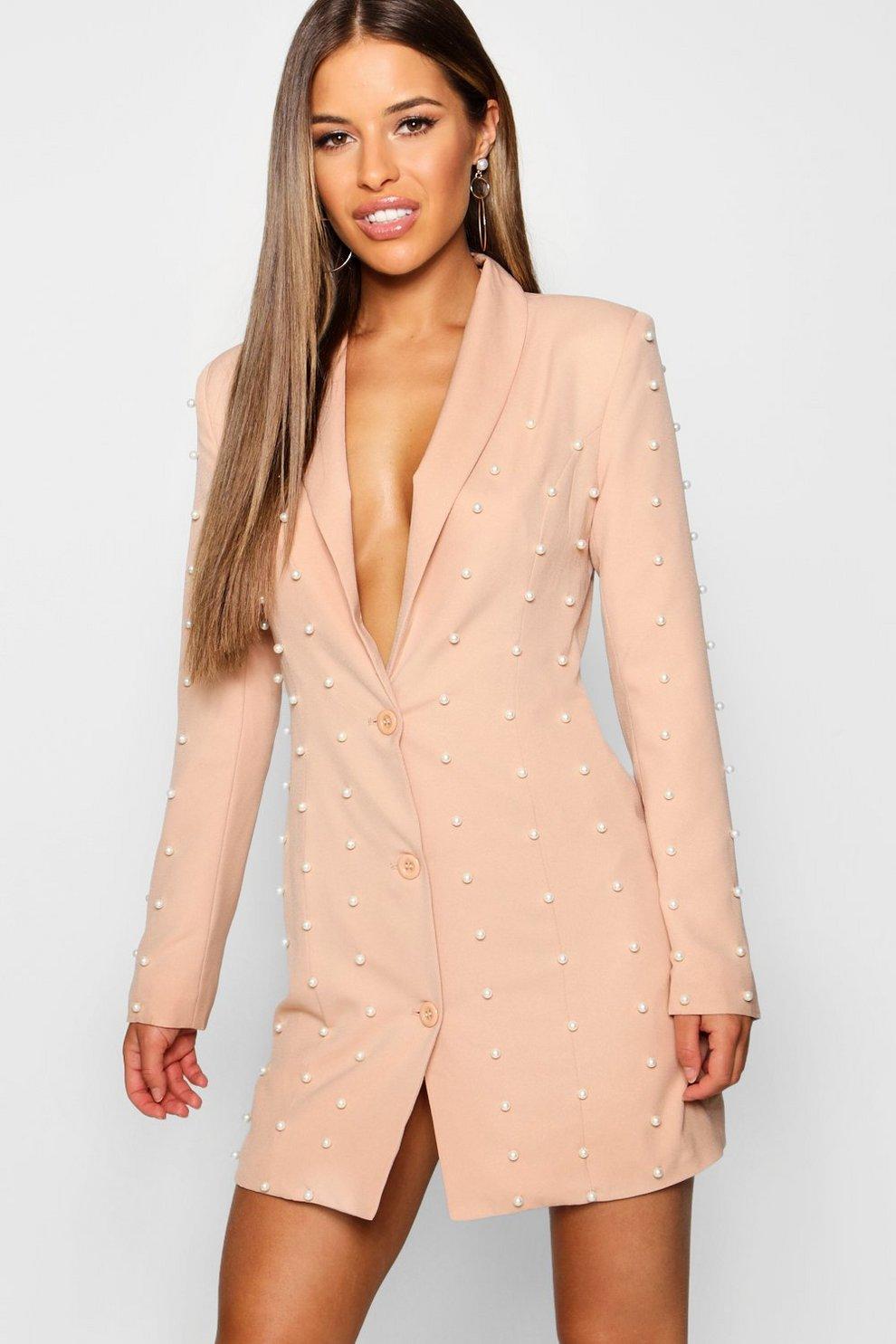 7393967b02c Womens Blush Petite Pearl Blazer Dress. Hover to zoom