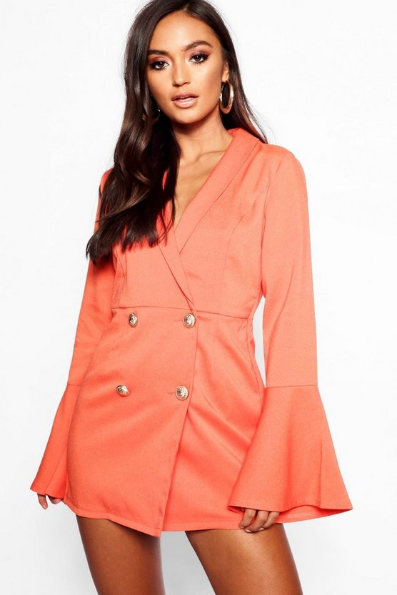 Petite Tailored Flare Sleeve Playsuit