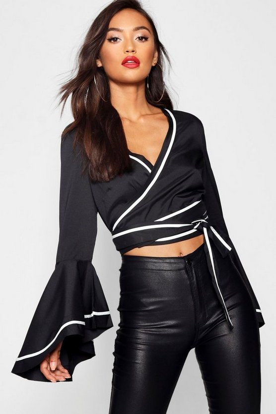Womens Black Petite Contrast Detail Wrap Crop