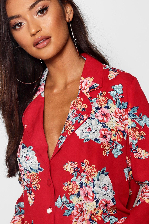 negro con floral Camisa corta estampado Petite wU5XqC