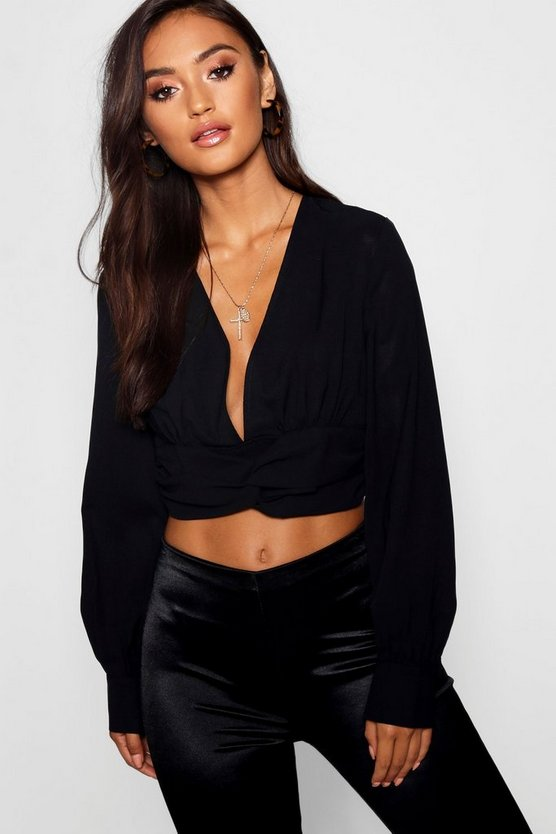 Petite Knot Detail Woven Crop Top