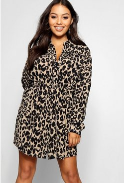 Womens Stone Petite Leopard Print Shirt Dress