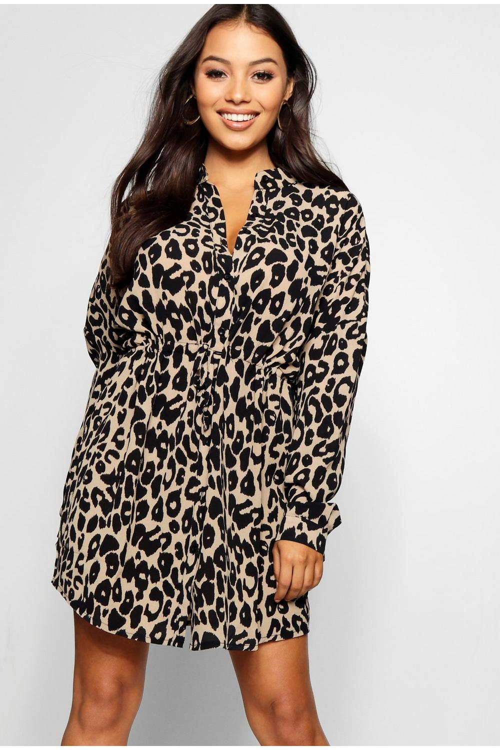 3d863db3cd Petite Leopard Print Shirt Dress. Hover to zoom