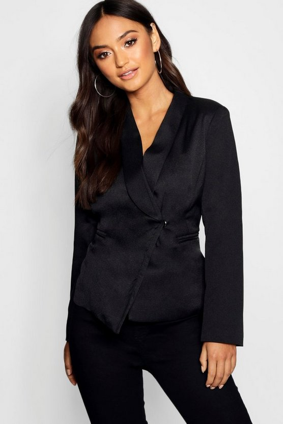 Womens Black Petite Asymmetric Blazer