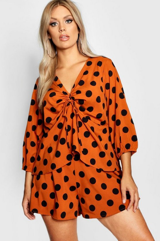 Womens Orange Plus Polka Dot Woven Blouse