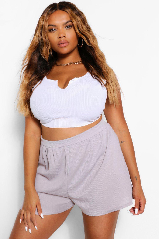 womens plus high waist short - grey - 12