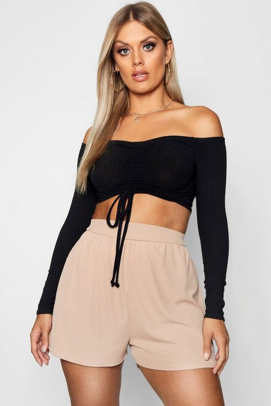 Plus Rib High Waist Flippy Short