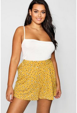 Womens Mustard Plus Ditsy Floral Flippy Shorts