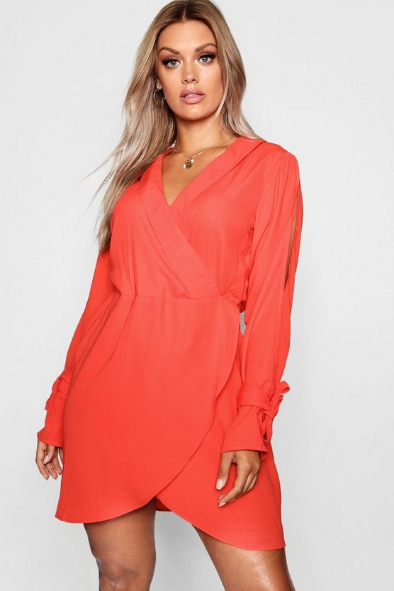 Womens Red Plus Tie Sleeve Wrap Front Shirt Dress