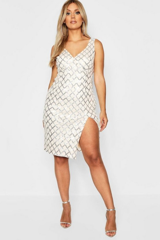 Plus Cross Sequin Extreme Thigh Split Midi Dress