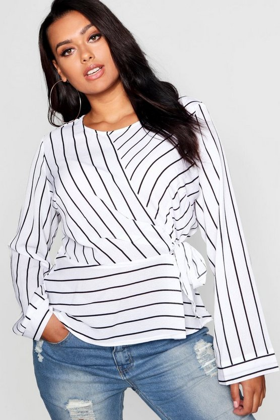 Plus Stripe Side Tie Top