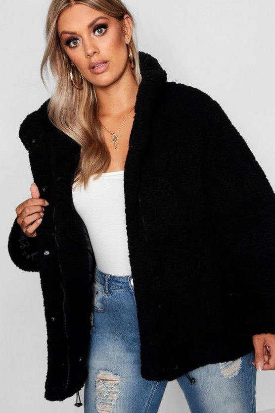 Plus Oversized Fleece Puffer Jacket