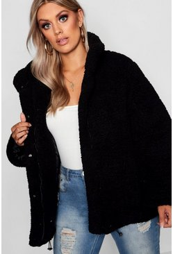 Womens Black Plus Oversized Fleece Puffer Jacket