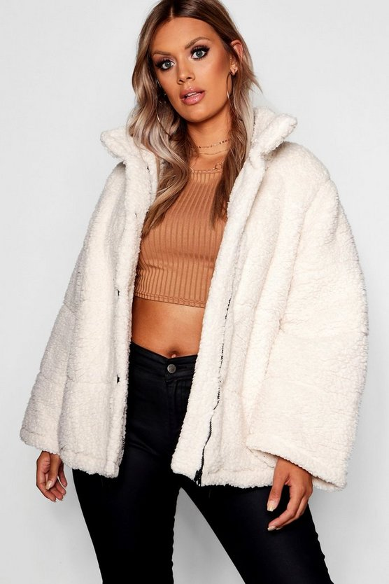 Womens Cream Plus Oversized Fleece Puffer Jacket