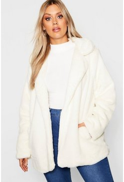 Cream Plus Faux Fur Coat