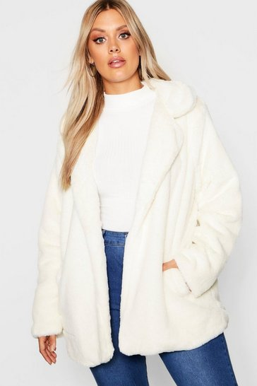 Womens Cream Plus Faux Fur Coat