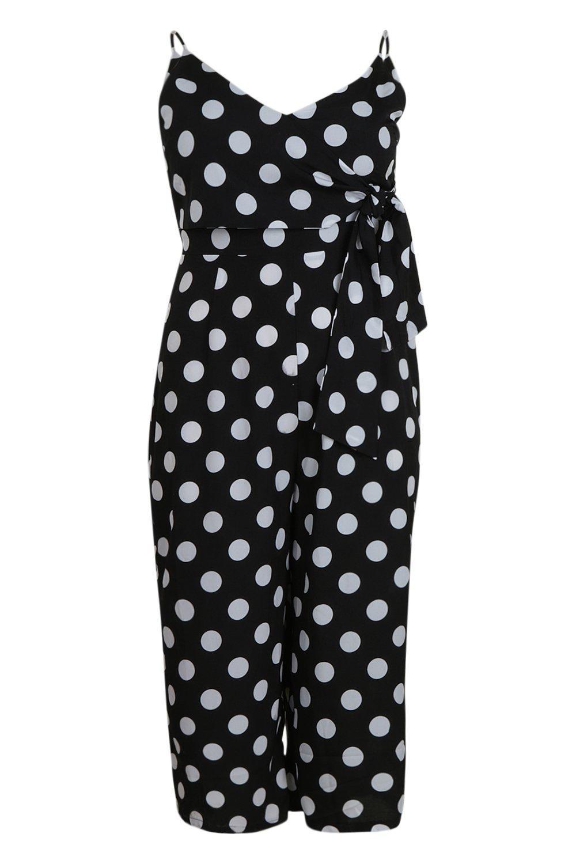 a grandes negro Mono culottes color teja estilo lunares Plus TwnT1Iqzva