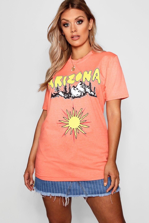 Camiseta estampada Plus melocotón ancha ancha Camiseta 0r8n0Pxq