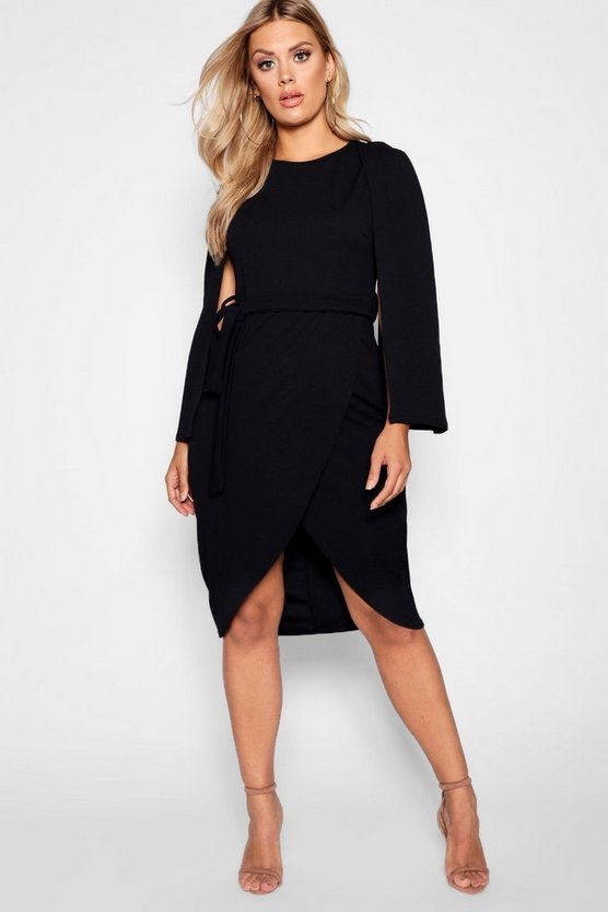 Womens Black Plus Cape Tailored Wrap Midi Dress