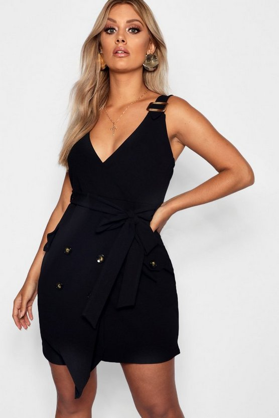 Plus Button Detail Wrap Dress
