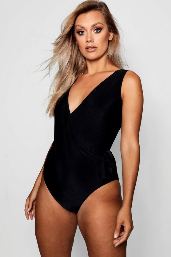 Womens Black Plus Tie Wrap Plunge Neck Swimsuit