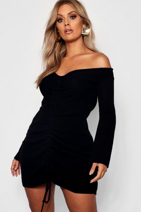 Womens Black Plus Ruched Bardot Knitted Bodycon Dress
