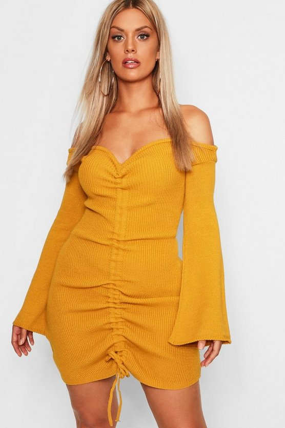 Plus Ruched Bardot Knitted Bodycon Dress