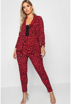 Womens Red Plus Leopard Print Suit Co-ord