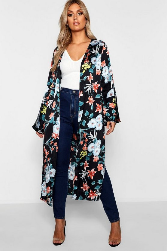 Womens Black Plus Maxi Floral Premium Duster