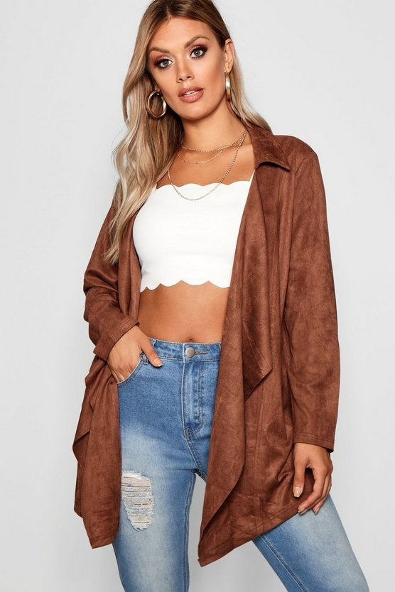 Plus Suedette Waterfall Duster Jacket