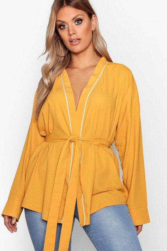 Mustard Plus Wrap Tie Waist Blouse
