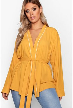 Womens Mustard Plus Wrap Tie Waist Blouse