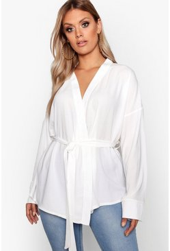 White Plus Wrap Tie Waist Blouse