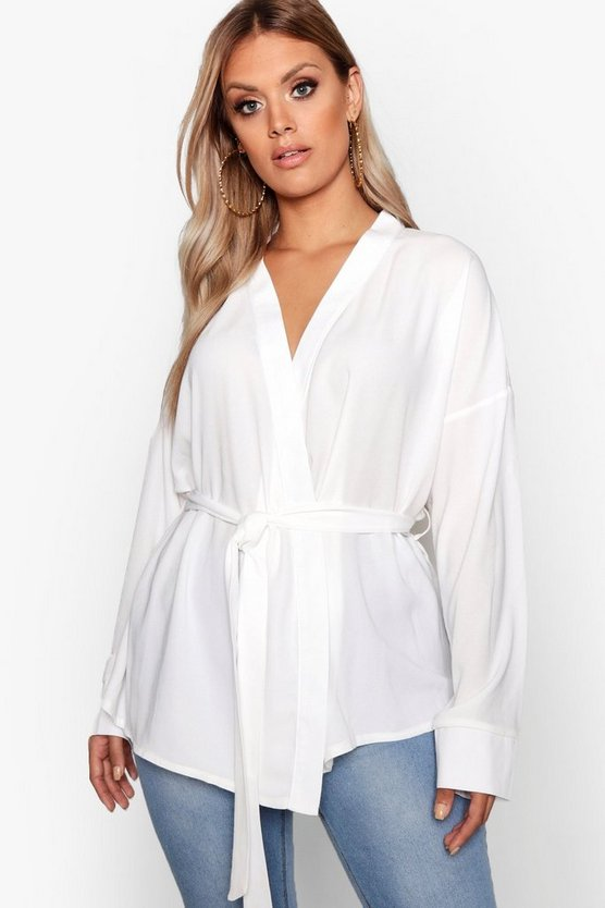 Womens White Plus Wrap Tie Waist Blouse