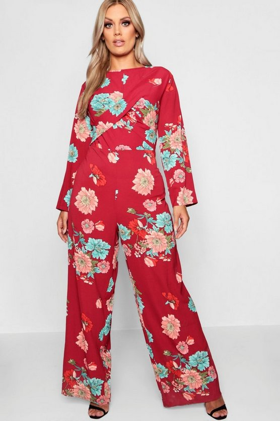 Plus Large Twist Front Jumpsuit