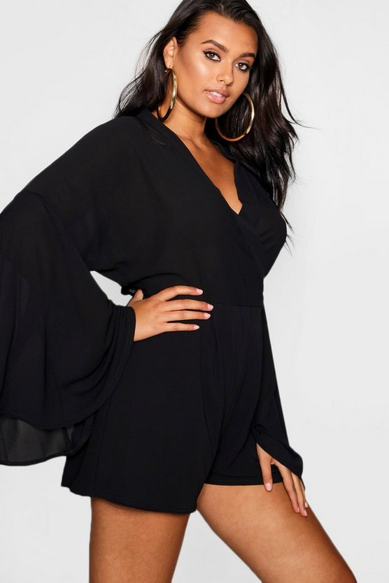 Womens Black Plus Extreme Sleeve Wrap Romper