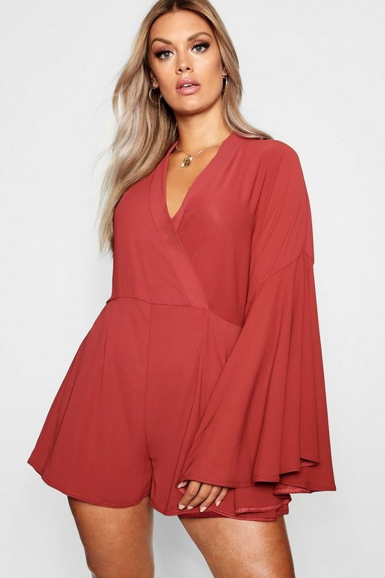 Plus Extreme Sleeve Wrap Playsuit