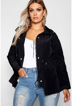 Womens Black Plus Oversized Zip Detail Parka