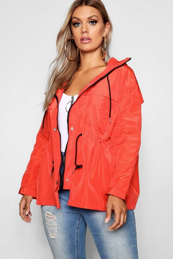 Plus Oversized Zip Detail Parka