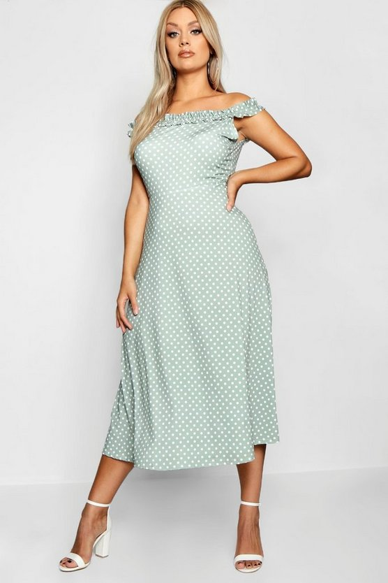Plus Polka Dot Off Shoulder Skater Dress
